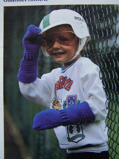 US 1 Cent S&H Children's Gauntlet Mittens Crochet Pattern Boys & Girls Long Gloves