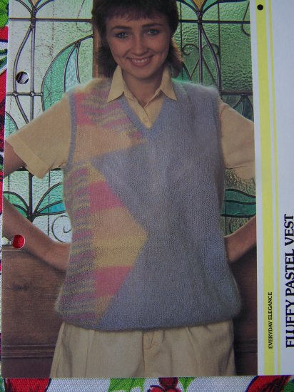 USA 1 Cent S&H Misses Knitting Pattern Fluffy Pastel Sweater Vest