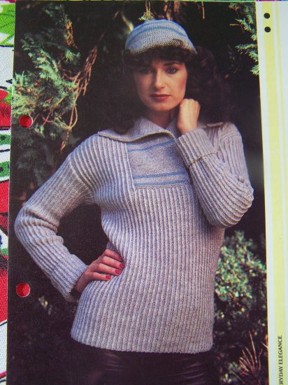 USA 1 Cent S&H VIntage Ribbed Misses Sweater & Hat Knitting Pattern