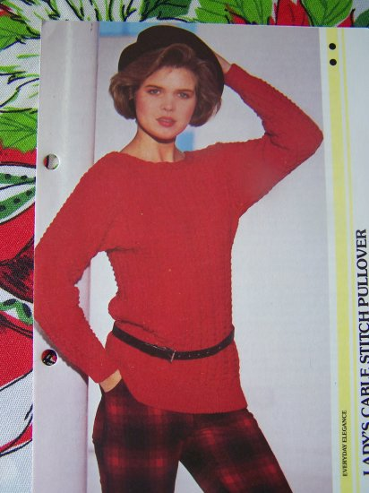 US 1 Cent S&H Vintage Womens Cable Stitch Pullover Sweater Knitting Pattern