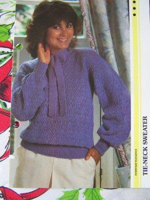 Vintage Knitting Pattern Diamond pattern Tie Neck Misses Sweater USA 1 Cent Shipping