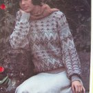 1 Cent USA S&H VIntage Fair Isle & Lace Stitch Bobble Sweater Knitting Pattern