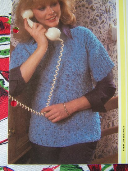 S&H 1 Cent USA Textured Quick & Easy Knit Sweater Top Knitting Pattern