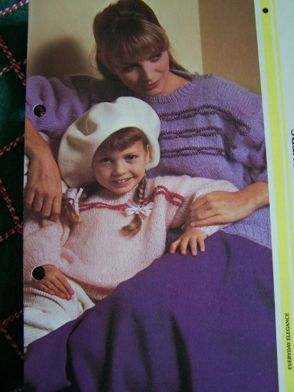 US S&H 1 Cent Mother & Daughter Easy Pullover Sweaters Vintage Knitting Pattern