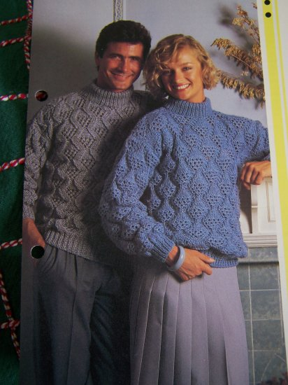 1 Cent S&H USA Vintage His & Hers Matching Reversible Sweaters Knitting Patterns