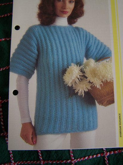 USA 1 Cent S&H Vintage Knitting Pattern Easy Openwork Tunic Top Sweater S M L XL