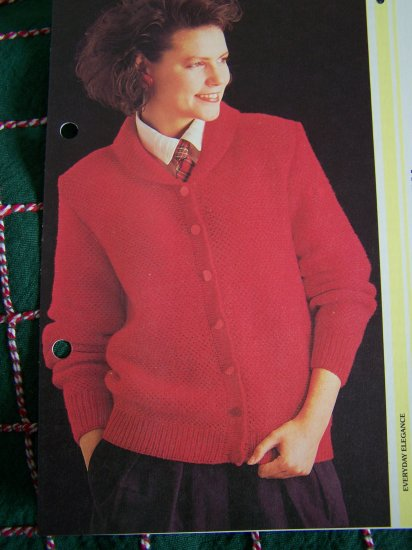 US 1 Cent S&H Womans Vintage Cardigan Sweater Jacket in Slip Stitch Knitting Pattern