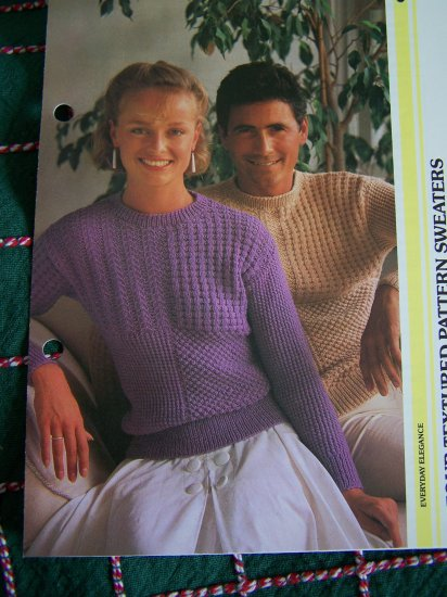 USA 1 Cent S&H Vintage His & Hers Four Textured Knitted Sweaters Patterns