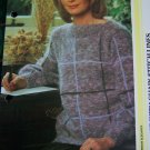 Vintage Womens Mohair Knitted Pullover Sweater with Chain Stitch Lines Pattern