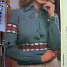 USA 1 Cent S&H Vintage Knitting Pattern High Collar Tie Neck Sweater Misses Bust 34 - 40