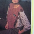 Misses Bat Wing Vintage Lace Stitch 3 Color Sweater Knitting Pattern USA Shipping Specials