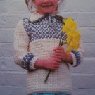 USA 1 Cent S&H  Vintage 80's Crochet Pattern Girls Country Style Pullover Sweater