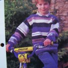 USA 1 Cent S&H  Boys Vintage Denim Striped Pullover Sweater Knitting Pattern