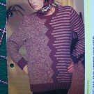 USA 1 Cent S&H Vintage 80's Knitting Pattern Womens Zig Zag and Stripe Pullover Sweater