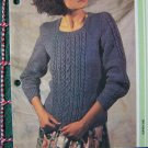 S&H 1 Cent USA Vintage Misses Aran Knit Sweater with Square Neck Knitting Pattern