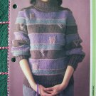 USA 1 Cent S&H Misses Striped Pullover Sweater with Triangles and Squares Knitting Pattern