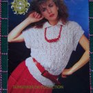 Retro Sirdar Linen Touch KNitting Pattern Misses Lacy Collar Sweater Top Summer Collection