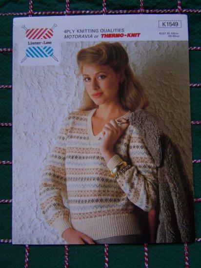 Vintage Knitting Leaflet Pattern Misses Pullover V Neck Sweater Lister Lee K 1549