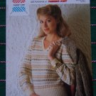 Vintage Knitting Leaflet Pattern Misses Pullover V Neck Sweater Lister Lee K 1549