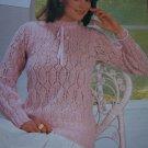 Wendy Vintage Lady's Ribbon Tie Neck Lacy Feminine Sweater Knitting Pattern 1981