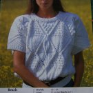 Vintage Jakobsdals Short Sleeve Sweater Knitting Pattern Misses Bust 33 - 36