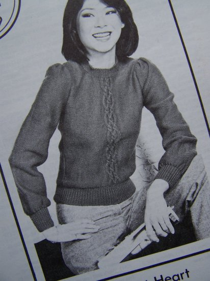 1 Cent USA S&H Vintage Patons Young At Heart Knitting Pattern Puff Sleeve Sweater Misses
