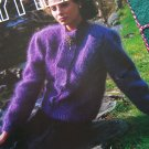 Vintage Hayfield Knitting Pattern Womens Mohair Cardigan Tie Collar