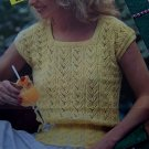 Vintage Knitting Pattern Sirdar Womens Lacy Square Neck Cap Sleeve Summer Top Pattern