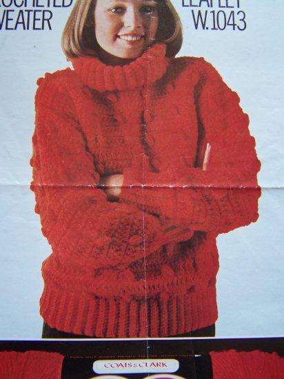 1 C US S&H Vintage Womens Crochet Pattern Aran Crocheted Pullover Turtleneck Sweater