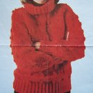 1 C US S&H Vintage Womens Crochet Pattern Aran Crocheted Pullover Turtleneck Sweater