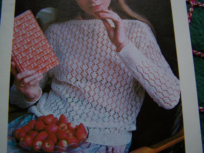 1 Cent USA S&H Misses Vintage Lacy Long Sleeve Sweater Knitting Pattern
