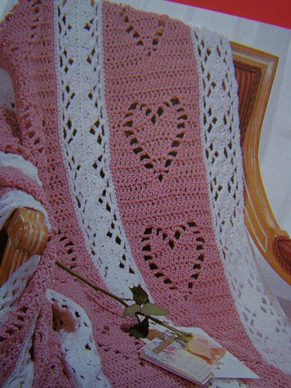 1 Cent Usa S Amp H Crocheted Throw Afghan Hearts Amp Diamonds