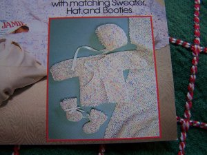 FREE USA S&H Vanna Crochet Patterns 6 M Baby Afghan Matching Sweater Hat Booties Layette Set