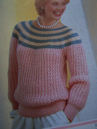 Vintage Wendy Lady's Striped Yoke Sweater Knitting Pattern 2295 S M L