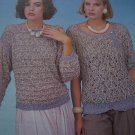 Vintage KNitting Patterns Ladys Pullover Sweaters Short or Long Sleeves with Bands S M L