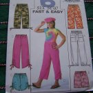 New Girls 7 8 10 Elastic Waist Capri Pants Shorts Drawstring Hem Style Sewing Patterns 4178