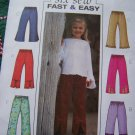 1 Cent USA S&H New Girls 6 7 8 Elastic Waist Pants Slit Ruffle Contrast Hem Sewing Pattern 3955