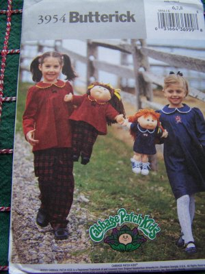 Uncut Girls 6 7 8 Sewing Pattern 3954 Top Pants Dress With Matching Doll Patterns