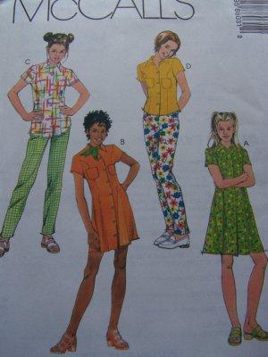 McCall's 8803 Girls 10 12 14 Sewing Pattern Princess Seamed Dress Top Back Elastic Pants