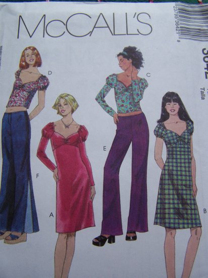 Girls 7 8 10 Sweatheart Neck Dress or Tops Low Rise Pants Sewing Pattern 3642