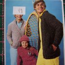 Vintage Patons Knitting Patterns Family Zip up Side Pockets Sweater Jackets & Hat