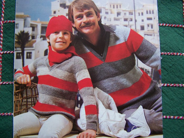 """Vintage Lister Lee V Neck Striped Sweaters Knitting Patterns Bust or Chest 22 - 42"""""""