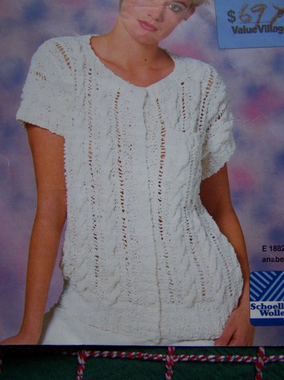 1 Cent USA S&H Retro Womens Short Sleeve Button Up Lacy Cable Sweater Knitting Pattern