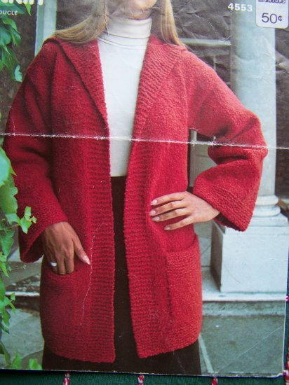1 Cent USA S&H Vintage Jaeger Womans Knitting Pattern Wrap Jacket & Hat Shawl Collar Bell Sleeves