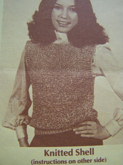 USA 1 Cent S&H Vintage Offray Ribbon Knitting Pattern Womens Knitted Shell # 20