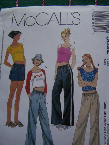 McCall's 3692 Girls Summer Fitted Shirts Workout Drawstring Pants or Shorts 12 14 16