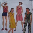 Uncut Girls 7 8 10 Sewing Pattern 3623 Flutter Sleeve Dress Sundress Tops Pants or Shorts