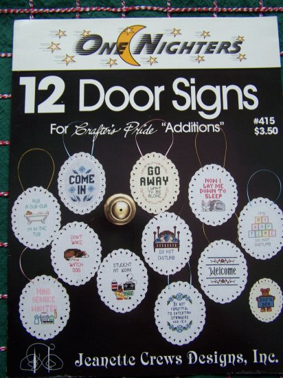 1 Cent USA S&H One Nighters 12 Door Signs Cross Stitch Patterns Leaflet 415