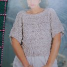 Vintage Knitting Pattern Misses S M L Pullover Summer knit Sweater with Short Sleeves 955
