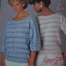Vintage Scheepjes Knitting Pattern Striped Openwork Lady's 3/4 Sleeve Sweater 1014